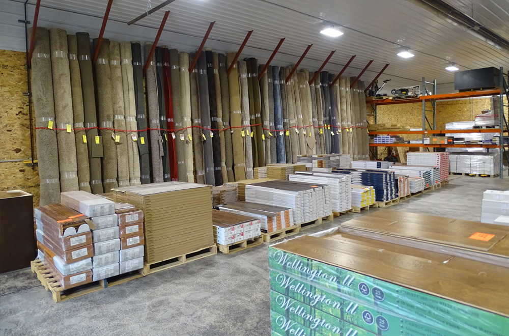 Large quantities of flooring on-hand